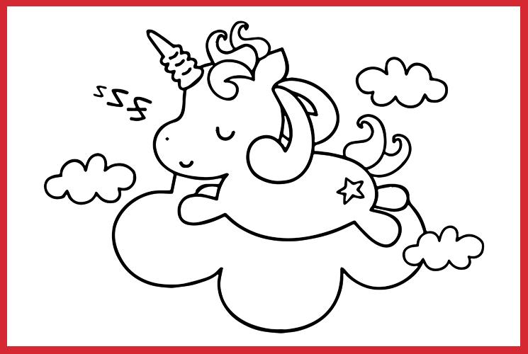 """Раскраска """"Единорог спит на облачке"""""""