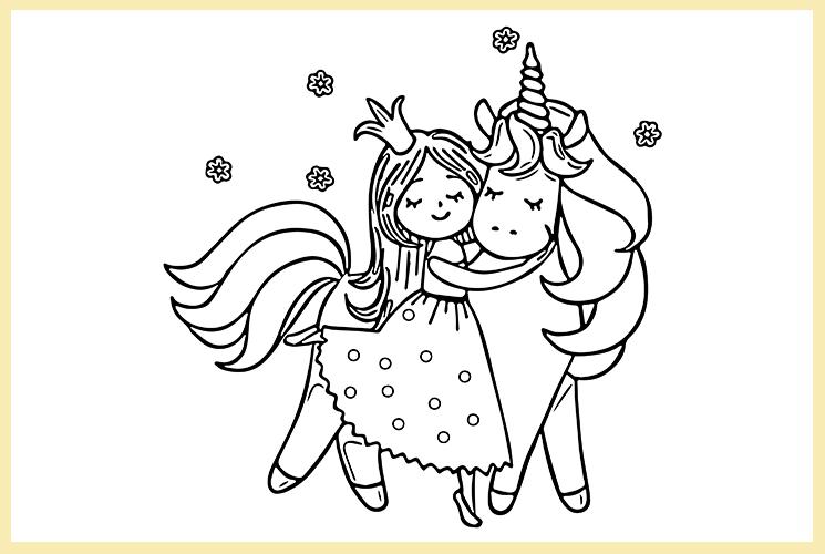 """Раскраска """"Единорог и Принцесса"""""""