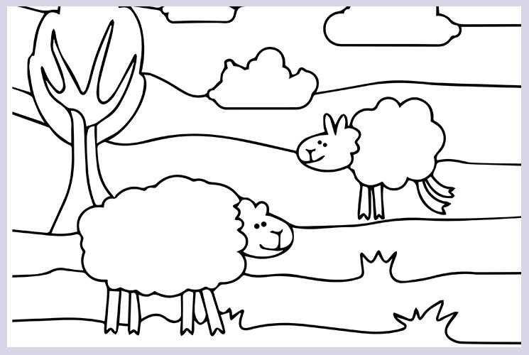 """Раскраска по номерам """"Овечки на лугу"""""""