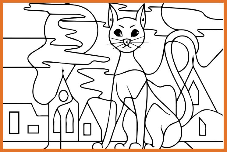 "Раскраска по номерам ""Кошка на крыше"""
