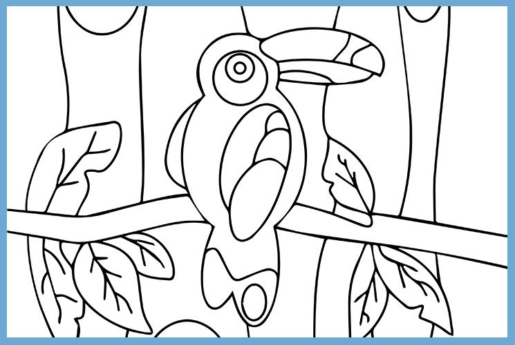 """Раскраска по номерам """"Попугай  в лесу"""""""