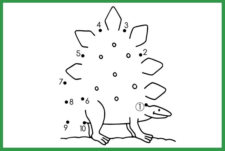 """Раскраска по точкам """"Веселый динозавр"""""""