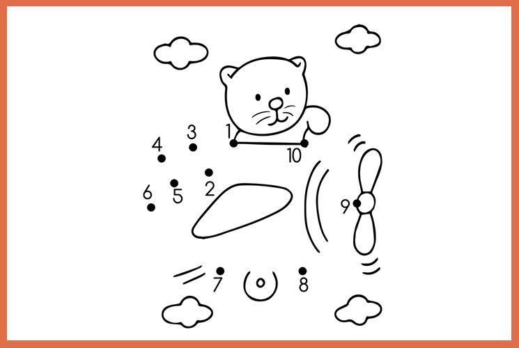 """Раскраска по точкам """"Мишка на самолете"""""""
