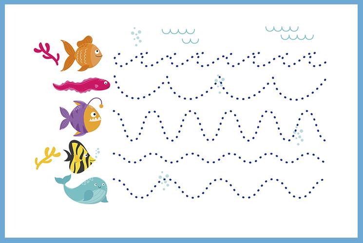 """Раскраска по точкам """"Рыбки"""""""