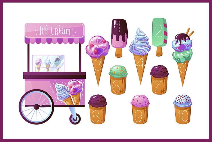 """Раскраска по точкам """"Мороженое"""""""