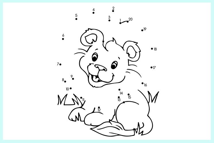 """Раскраска по точкам """"Маленький львёнок"""""""
