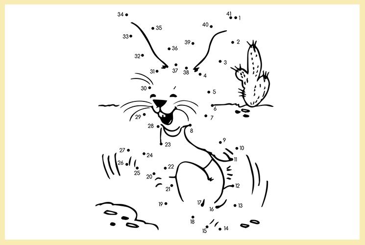 """Раскраска по точкам """"Зайчишка"""""""