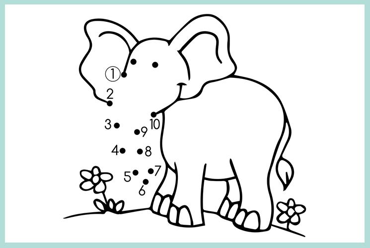 "Раскраска по точкам ""Слоненок на лужайке"""