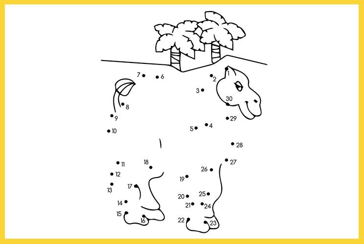 """Раскраска по точкам """"Верблюд в пустыне"""""""